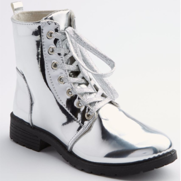8b8bbbfa923c1 New With Tag Silver Metallic Combat Boots NWT